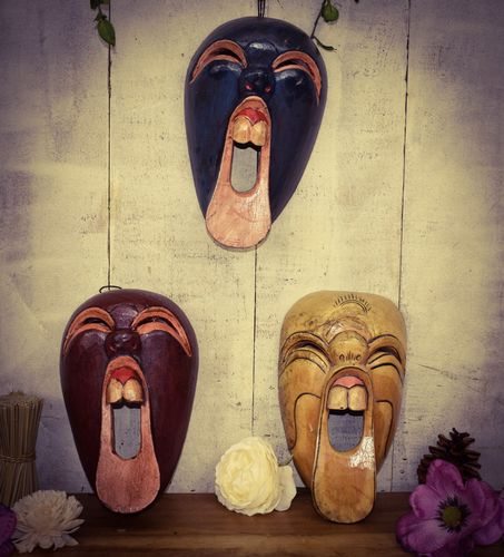 Wooden Carved Abstract Face Masks